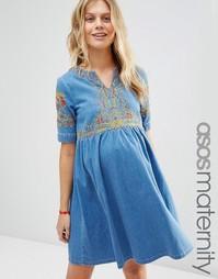 Синее свободное джинсовое платье для беременных с вышивкой ASOS Matern