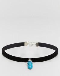 Ожерелье-чокер с полудрагоценным камнем Reclaimed Vintage