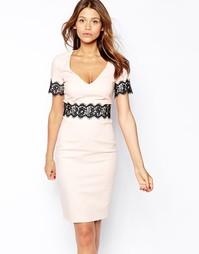 Платье-футляр с кружевом на талии и V-образным вырезом Paper Dolls