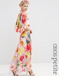 Плиссированное платье макси с принтом ASOS PETITE WEDDING - Mink