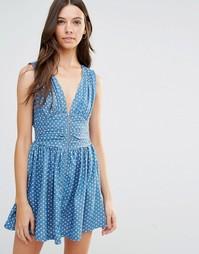 Джинсовое приталенное платье с молнией спереди Jasmine - Синий