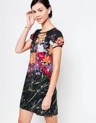 Платье-трапеция с цветочным принтом Jasmine - Черный цветочный