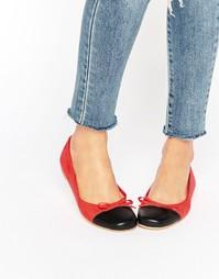 Балетки с прямоугольным носком London Rebel - Красный