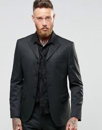 Пиджак слим в тонкую полоску на четырех пуговицах ASOS - Черный