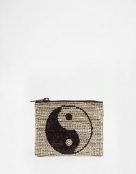 Расшитый вручную пайетками кошелек для мелочи с дизайном Ин и янь ASOS