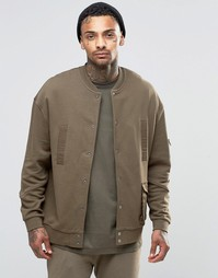 ASOS Oversized Jersey MA1 Bomber Jacket With Military Woven Pockets &