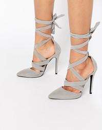 Туфли на каблуке с завязками Public Desire Blake - Light grey suede
