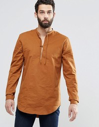 ASOS Military Overhead Shirt In Tan With Tie Front - Tobacco
