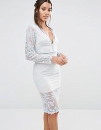 Кружевное платье миди с длинными рукавами Love Triangle