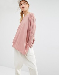 Daisy Street Relaxed Top With Assymmetric Hem In Rib - Пыльно-розовый