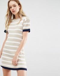Вязаное платье‑футболка в полоску Daisy Street - Телесный