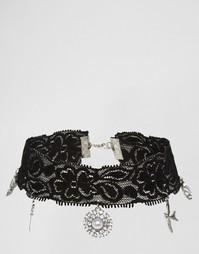 Широкое ожерелье-чокер с подвесками ASOS - Черный
