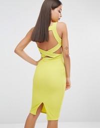 Облегающее платье миди с отделкой сзади Missguided - Лайм