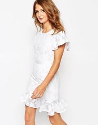 Кружевное платье с оборкой по подолу Millie Mackintosh - Белый
