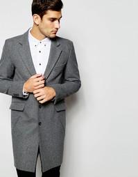 Светло-серое шерстяное пальто ASOS - Серый