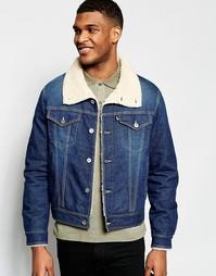 Джинсовая куртка с меховым воротником Love Moschino - Синий