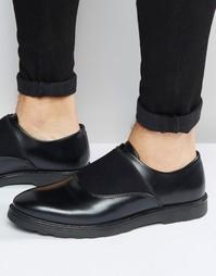 Черные кожаные туфли с эластичным ремешком ASOS - Черный
