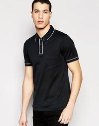 Классическая футболка‑поло слим с окантовкой Original Penguin - Черный