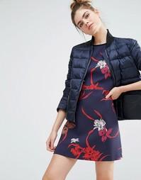 Дутая куртка с контрастным карманом Sportmax Code - 004 navy
