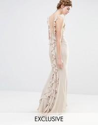 Платье макси с асимметричным краем и оборками сзади Jarlo Wedding