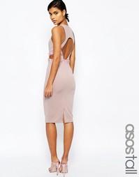Облегающее платье миди с открытой спинкой ASOS TALL - Телесный