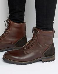 Коричневые кожаные ботинки на шнуровке Aldo Busca - Коричневый