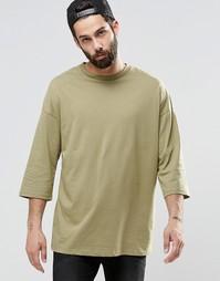 Oversize-футболка цвета хаки с рукавами 3/4 ASOS - Хаки