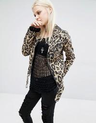 Байкерская куртка с леопардовым принтом Tripp NYC