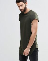 Супердлинная футболка с короткими рукавами и асимметричным краем ASOS