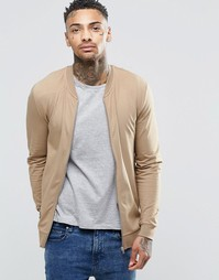ASOS Muscle Fit Jersey Bomber Jacket In Beige - Sand dune