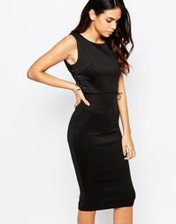 Платье миди со шнуровкой по бокам AX Paris - Черный