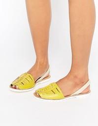 Плетеные кожаные сандалии с ремешком на пятке Park Lane - Желтый