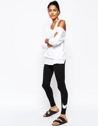 Леггинсы с крупным принтом галочки Nike Club - Черный