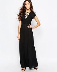 Платье макси с декоративной шнуровкой Love - Черный