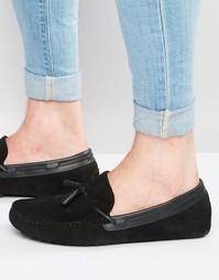 Черные замшевые мокасины с кожаными кисточками ASOS - Черный