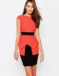 Платье-футляр с баской и отделкой и контрастным поясом Vesper Suki