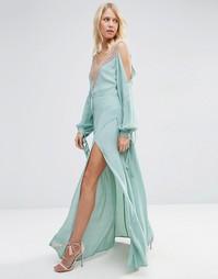 Платье макси на бретельках с открытыми плечами ASOS Lingerie - Синий
