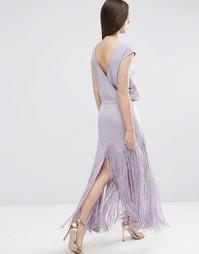 Платье макси с бахромой и глубоким V-образным вырезом сзади ASOS