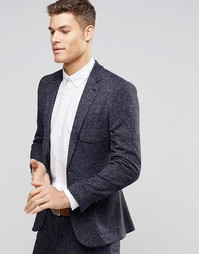 Трикотажный пиджак суперзауженного кроя ASOS - Темно-синий