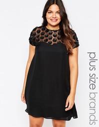 Свободное платье с накладными цветами Praslin Plus - Черный