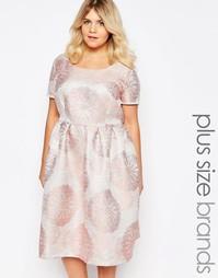 Платье миди из парчи Truly You - Розовый