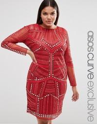 Платье миди с зеркальной отделкой ASOS CURVE - Красный