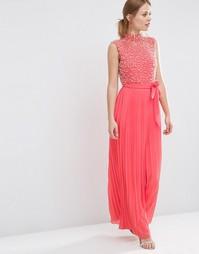 Платье макси с жемчужной отделкой на лифе ASOS - Коралловый