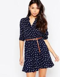 Цельнокройное платье с принтом кошек и рукавами 3/4 Yumi - Темно-синий