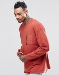 Oversize-свитшот с тканым карманом и молнией ASOS - Красно-бурый