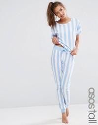 Пижамный комплект из футболки и джоггеров в крупную полоску ASOS TALL