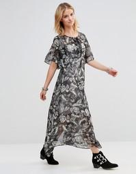 Платье макси с принтом пейсли и шнуровкой на лифе Style London