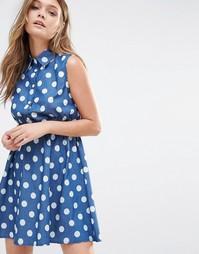 Джинсовое платье‑рубашка в горошек Iska - Темно-синий