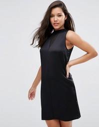 Атласное платье без рукавов с прозрачными вставками ASOS - Черный