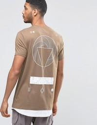 Удлиненная футболка с графическим принтом на спине и контрастным асимм Asos